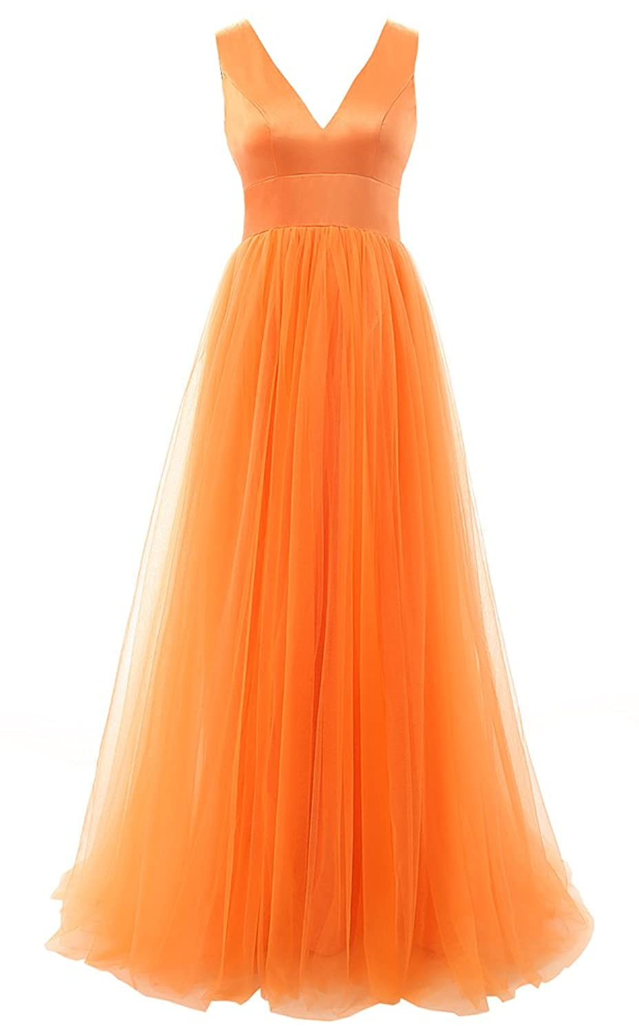 Baijinbai Women's Orange Long Tulle Formal Homecoming Bridesmaid Party Prom Dresses