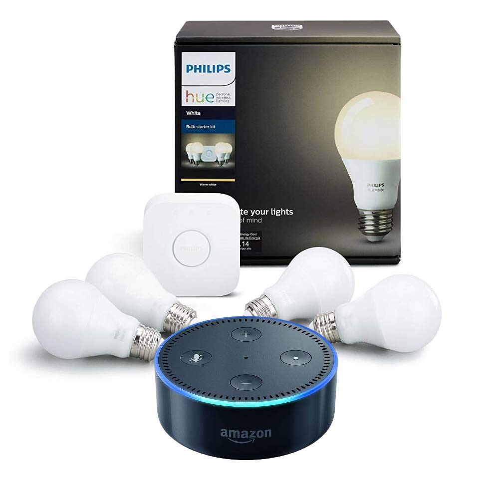 Philips Hue White Starter Kit (4-bulb) + Echo Dot (Black)
