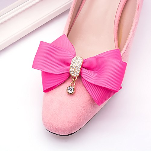 Douqu Rhinestone Crystal Dangle Center Ribbon Assorted Color Bow Shoe Clips Pair Removable Shoe Buckle (Rose Red) -