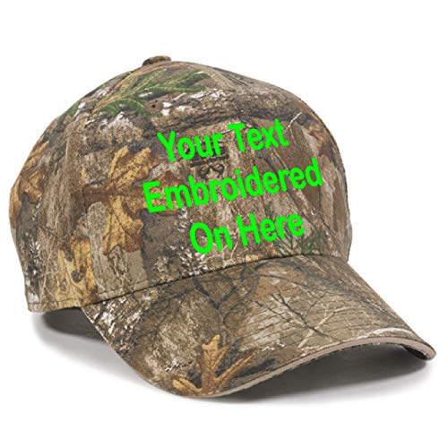 (Custom Hat, Embroidered. Your Own Text. Adjustable Back. Curved Bill (Realtree Edge/Khaki))