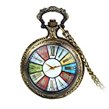 "Avaner Retro Roman Numeral Rainbow Round Dial Transparent Full Hunter Case Quartz Pocket Watch with 30"" Chain Kid Graduation Mens Fathers Day Gift"