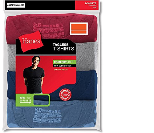 Hanes Men's ComfortSoft T-Shirt (Pack of 4) (Large, Assorted) ()