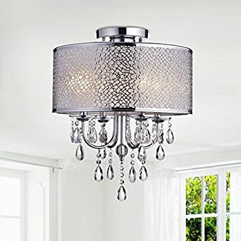 Jojospring Amalia Indoor 4 Light Drum Shade Crystal Flush Mount Chandelier