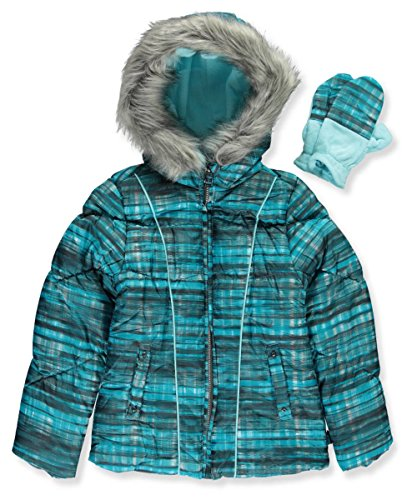 Girls Hooded Puffer Jacket (London Fog Big Girls' Hooded Puffer Jacket with Mittens, Turquoise Print, 7/8)