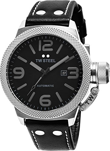 TW Steel Canteen Automatic - Black Dial Date TW Steel Watch Mens - Black Leather Band 45mm Stainless Steel Mens Automatic Watch TWA200