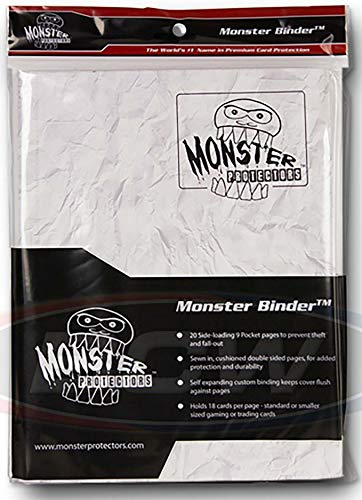 Monster Binder - 9 Pocket Trading Card Album -Marble White w White Pages - Holds 360 Yugioh, Magic, and Pokemon Cards