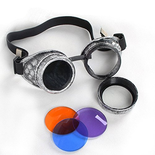 100% ABS Costume Props Cosplay Vintage Steampunk Goggles Glasses Welding Cyber Punk Gothic (Old Silver Frame) by FUT (Image #1)