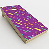 Skin Decal Vinyl Wrap for Cornhole Game Board Bag Toss (2xpcs.) Skins Stickers Cover / Purple Girly Sprinkles Cupcake