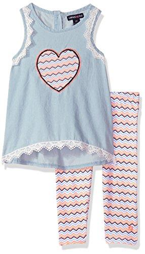 Limited Too Girls' Toddler Fashion Top Legging Set, Chevron Heart Multi Print, 2T