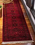 Unique Loom Tekke Collection Tribal Traditional Torkaman Red Runner Rug (3′ x 10′)