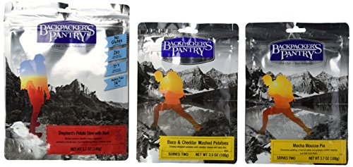 Backpacker's Pantry Complete Meal Kit Bundle: (1) Backpacker's Pantry Shepherd's Potato Stew With Beef, (1) Backpacker's Pantry Baco & Cheddar Mashed Potatoes, and (1) Backpacker's Pantry Mocha Mousse Pie, 3.5-5.1 Oz. Ea. (3 Pouches Total)