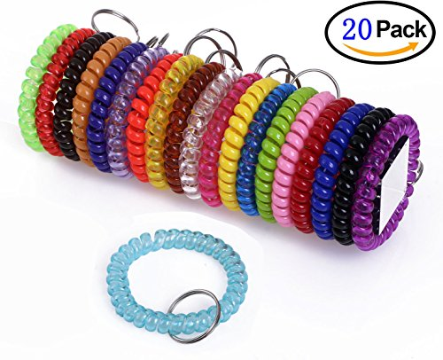 Shapenty Colored Plastic Coil Stretch Wristband Elastic Stretchable Spiral Bracelet Key Ring Chain for Gym, Pool, ID Badge and Outdoor Sports, (Spiral Bracelet)