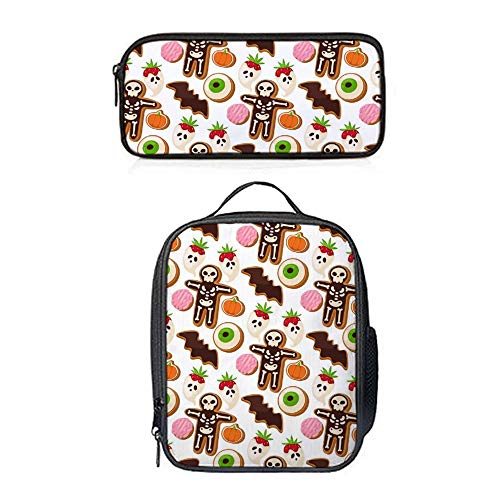 SARA NELL Lunch Backpack Halloween Cookie Mummy Lunch Bag&Pencil case Set with Padded Straps for Boys Girls]()