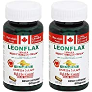 Leonflax Canadian Flaxseed Plus Fat Reducer 60 Capsules 1000mg 2-PACK