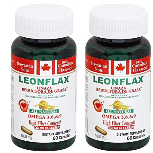 Cheap Leonflax Canadian Flaxseed Plus Fat Reducer 60 Capsules 1000mg 2-PACK