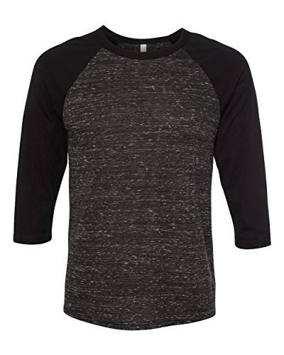 Bella 3200 Unisex 3 By 4 Sleeve Baseball Tee - Black Marble & Black, Large