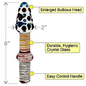 OptiSex Perfect Love Tool Premium Glass Dildo with Storage Bag, 8.5 Inch