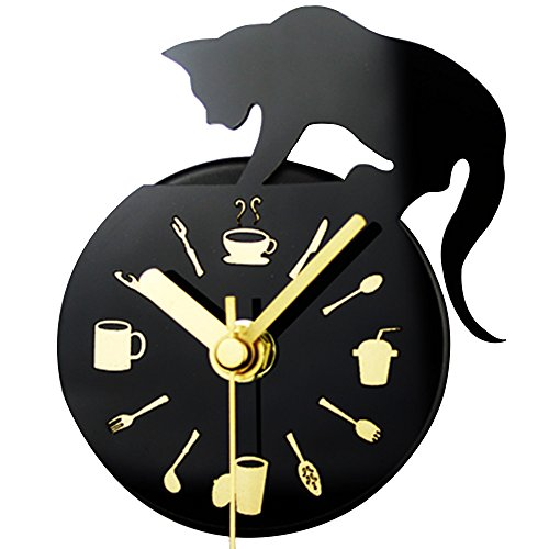 Kaimao Magnetic Fridge / Kitchen Clock , Mini Silent Sweep DIY Clock for Home Decoration - Cat