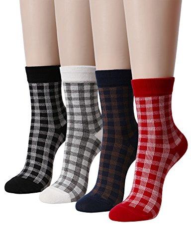 OSABASA Womens retro check Casual Crew socks(KWMS0339-SET4)