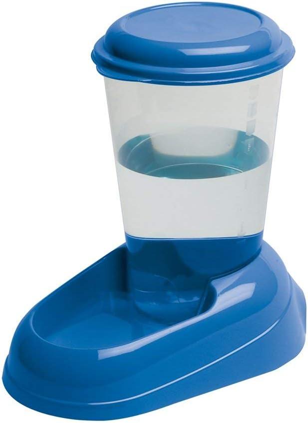 Ferplast Dispensador de Agua para Perros de Talla pequeña y Mediana y Gatos Nadir 3 litros, Depósito Transparente con Tapa, Plástico, Base Antideslizante, 29,2 x 20,2 x h 28,8 cm Azul Marino: