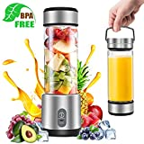 Portable Blender, G-TING Personal Smoothies Blender Cordless, Rechargeable USB Small Mini Blender 6 Blades Single Serve Juice Mixer 450ml Portable Juicer for Shakes, Smoothies, Home, Travel & Gym (FDA BPA Free)