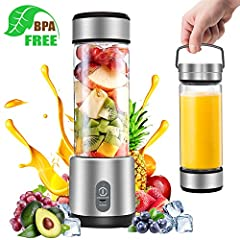 Specification: Capacity: 450ml Body material : food grade glass Base:ABS Blade: SS304 stainless steel Rotating speed:  No-load: 18000rpm±15% Full-load:15000rpm±15% Current:15-19A Battery:4400mAh Size: 3*3*9.8 inch (75*75*250mm)  How To Use: 1...