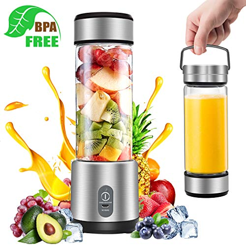 Portable Blender, G-TING Personal Smoothies Blender Cordless, Rechargeable USB Small Mini Blender 6 Blades Single Serve Juice Mixer 450ml Portable Juicer for Shakes, Smoothies, Home, Travel & Gym (FDA