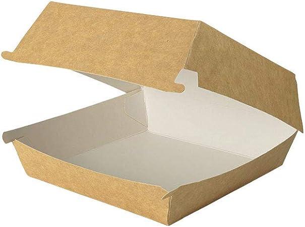 BIOZOYG Take Away Burger Box I 400 Cajas de Hamburguesas con Tapa abatible de cartón de