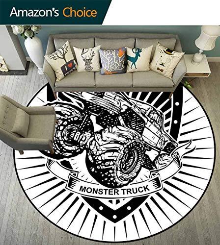Modern Round Carpets and Rugs,Munster Truck Logo on Shield Flag Pattern Artisan Speed Sports Hobby Illustration Anti-Static,Black White,D-67 ()