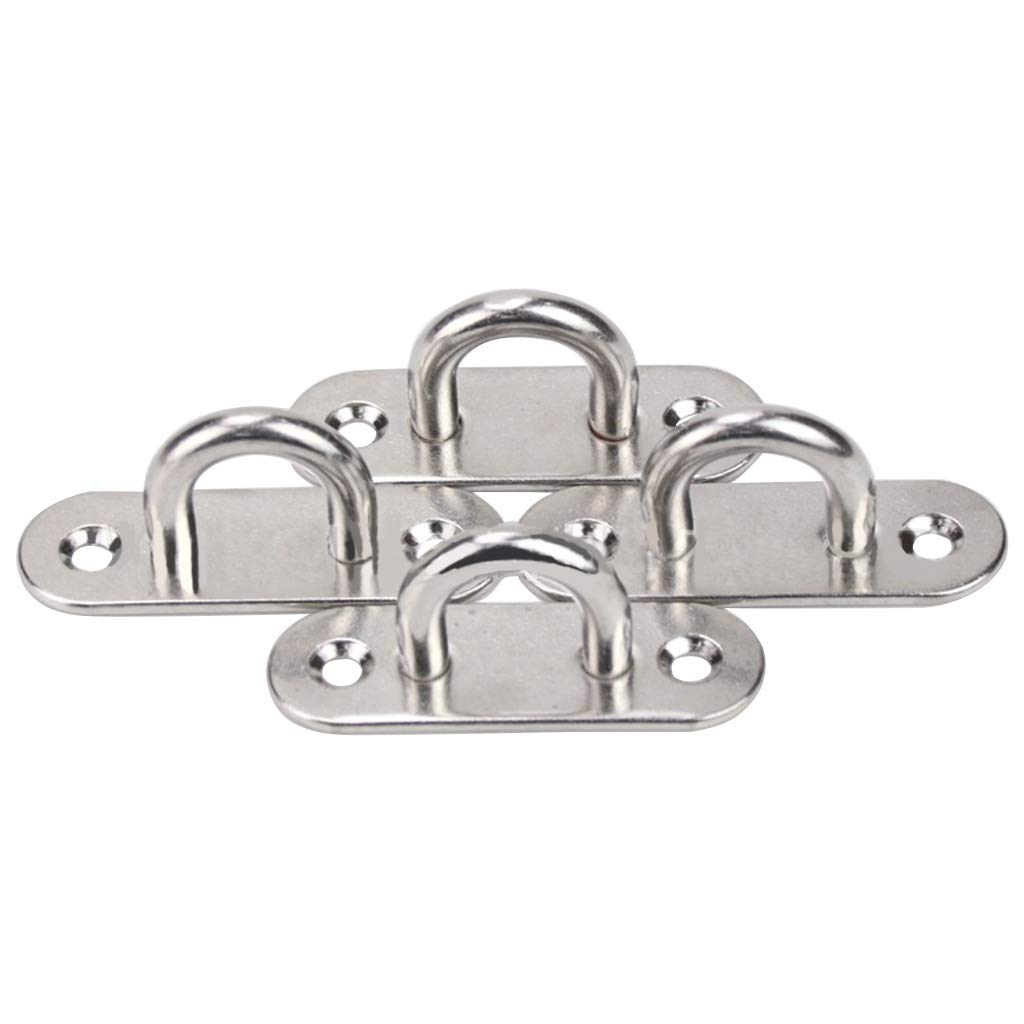Youliy in metallo piastra a occhiello oblunga set da 6 con gancio piastra a occhiello in acciaio inox da 5 mm