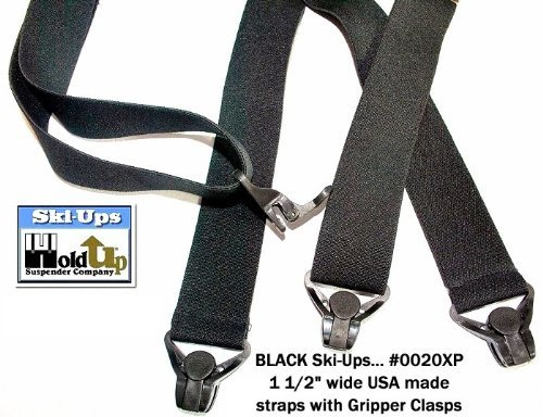 HoldUp All Black Snow Ski-Ups Suspenders in 1 1/2'' width with Patented black Gripper Clasps in X-back style by Hold-Up Suspender Co. (Image #8)