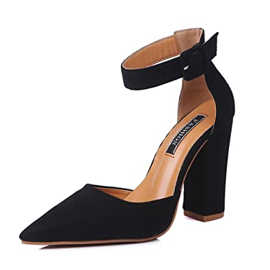 a24c9b1a845 COSDN Women s Fashion Ankle Strap Pointed Toe Shoes Chunky High Heels  Sandals Size 4.5 Black