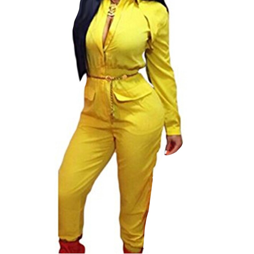 Women's Long Sleeve Zipper Turn Down Collar Capri Pant Jumpsuit Overall