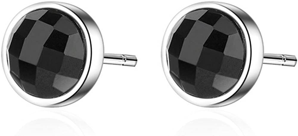 MEEOI exageración de la moda Ear Stud Earrings Ear Hoop 925 de plata esterlina para mujer, estrellas tipográficas de ónix negro y pendientes.
