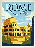American Vinyl Vintage Art Colosseum in Rome Italy Sticker (Visit Italian ca Old)