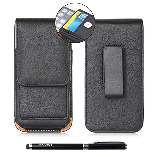 AMY Leather Cellphone Carrying Pouch  with Rotating Belt Clip and 2 Card Slots Bundle with Stylus, 7 inch - Black
