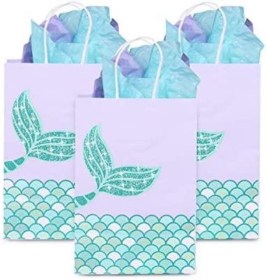 YouthUnion Bolsa Regalo Sirena Papel, 12Pcs Mermaid Fiesta Party Mar Recuerdos de Boda Niñas Infantil Brillante Dorado Bronceado (Verde)