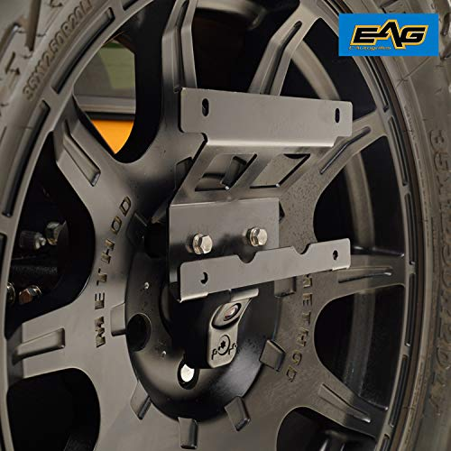 (EAG Rear Spare Tire License Plate Relocation Bracket Fit for 2018-2019 Jeep Wrangler JL)