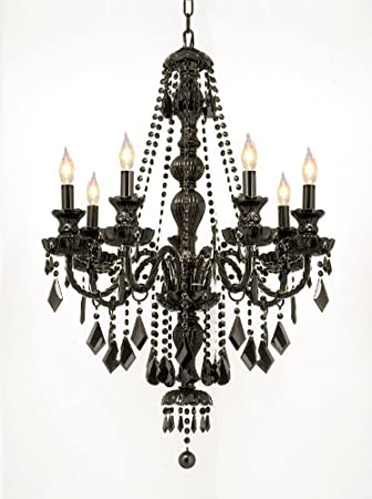 "Chandelier Black Crystal: JET BLACK GOTHIC CRYSTAL CHANDELIER LIGHTING H37"" ...,Lighting"