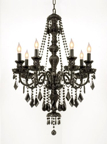 NEW! JET BLACK GOTHIC CRYSTAL CHANDELIER LIGHTING H37' x W26'!