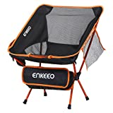 ENKEEO Camping Chair Folding Portable Mesh Picnic Seat with 330 lbs. Capacity, Backrest, Pocket and Carry Bag, for Fishing, Hiking, Picnic and Travel (Black)