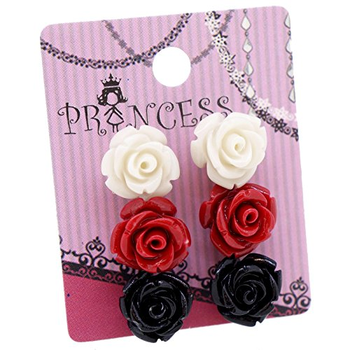 (Red White Black Color Rose Magnetic Stud Earrings, Pack of 3 pairs)