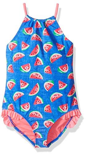 Price comparison product image Angel Beach Little Girls' Denim Watermelon Print High Neck One Piece Swim, Multi, 6X