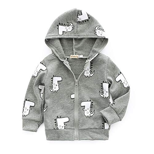 Hooded Outfits Anglewolf Sweatshirt Coat Comfortable Kids Overcoat Boys Tops Costume Fashion Autumn Baby Infant Warm Girls Zipper Cartoon Winter Gray Casual Dinosaur Clothes Toddler Outwear CB4q0xwrB