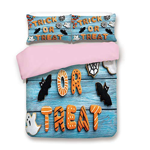 Pink Duvet Cover Set,Full Size,Trick or Treat Cookie Wooden Table Ghost Bat Web Halloween,Decorative 3 Piece Bedding Set with 2 Pillow Sham,Best Gift for Girls Women,Blue Amber Multicolor