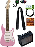 pink fender - Squier by Fender Mini Strat Electric Guitar - Pink Bundle with Amplifier, Instrument Cable, Tuner, Strap, Picks, Austin Bazaar Instructional DVD, and Polishing Cloth