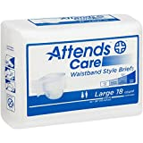 Attends Care Waistband Style Briefs with Odor-Shield for Adult Incontinence Care, Large, Unisex ,  18 Count (Pack of 2)