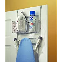 InterDesign Ironing Board Holder with Storage Basket for Clothing Iron - Wall Mount/Over Door, Chrome
