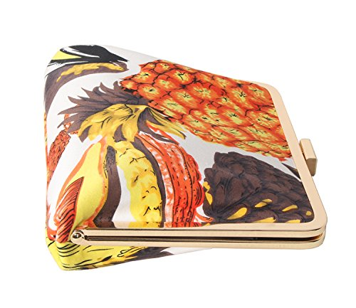 color Pineapple M10M15 Multi Party for Orange Purse Tropic Floral Clucth Printing Women's IAXXxwSO