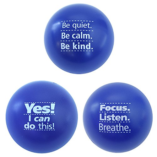 Teacher Peach Foam Stress Ball Assortment, Stress Relief Toys for Adults, Perfect Work Gift Idea for Office Coworkers, Employees, Managers, Boss, and Staff - Blue 3 Pack